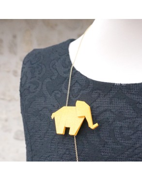 Collier/Broche ELEPHANT CURRY PAILLETTE