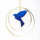 Collier - Sautoir - oiseau - origami - bleu