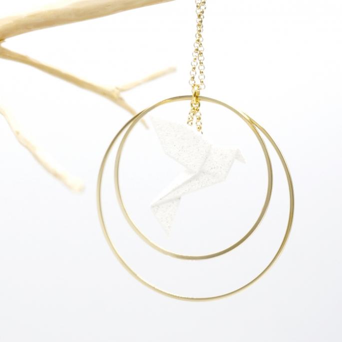 Collier - Sautoir - oiseau - origami - blanc