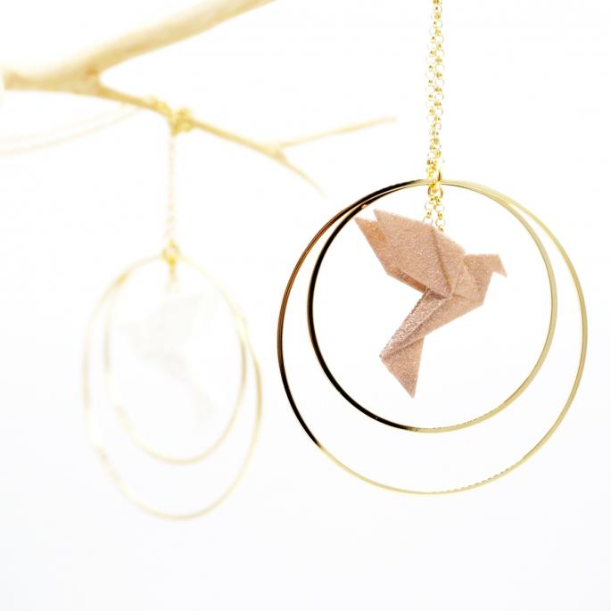 Collier - Sautoir - oiseau - origami - nuances intemporelles