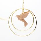 Collier - Sautoir - oiseau - origami - nude rose poudré