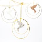 Collier - Sautoir - oiseau - origami - argenté