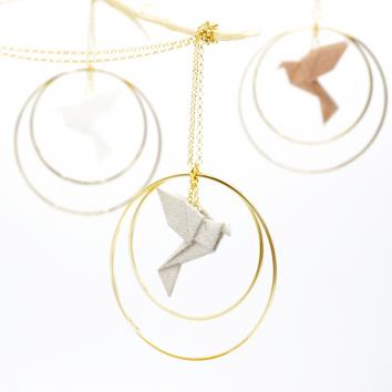 Collier - Sautoir - oiseau - origami - silver