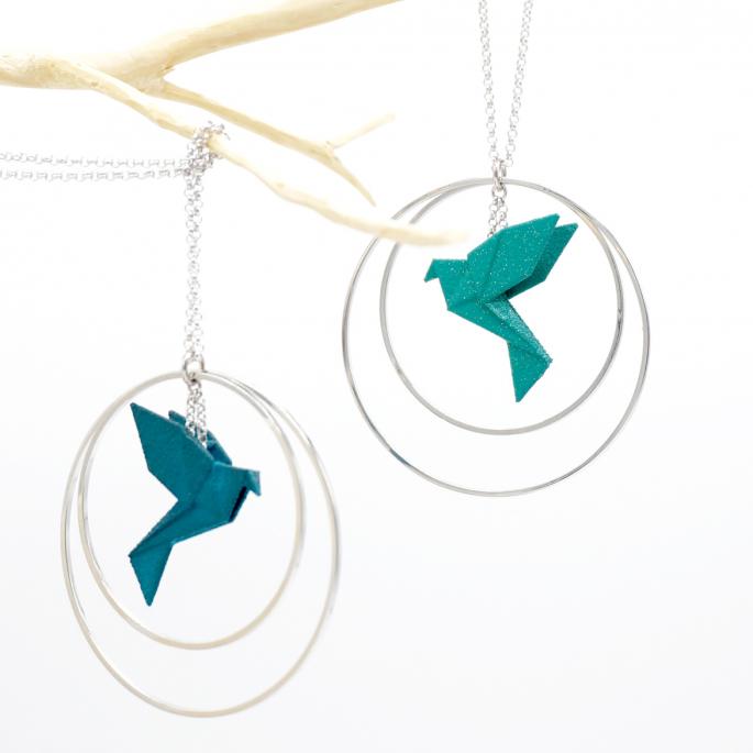 Collier - Sautoir - oiseau - origami - nuances aquaées