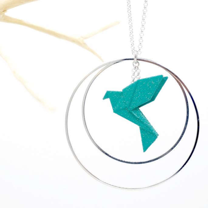 Collier - Sautoir - oiseau - origami - emeraude