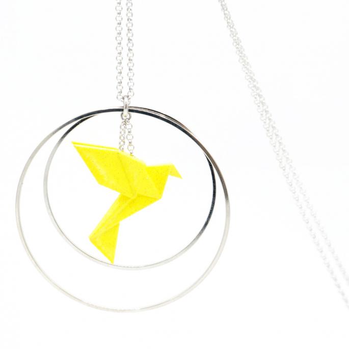 Collier - Sautoir - oiseau - origami - jaune