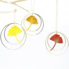 Sautoir Collier ginkgo créole dorée nuances ensoleillées