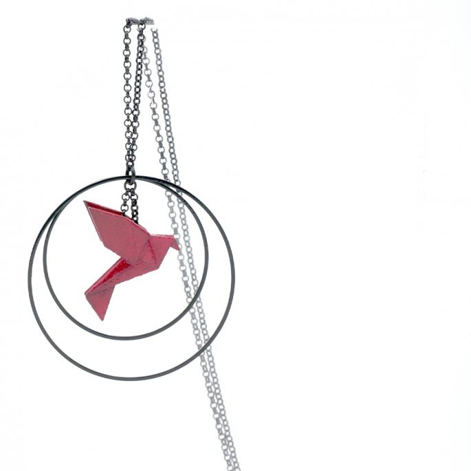 Collier - Sautoir - oiseau - origami - bordeaux - créole-noires
