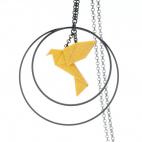 Collier - Sautoir - oiseau - origami - curry/moutarde - créole-noires