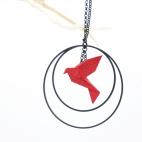 Collier - Sautoir - oiseau - origami - rouge - créole-noires