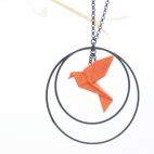Collier - Sautoir - oiseau - origami - mandarine - créole-noires