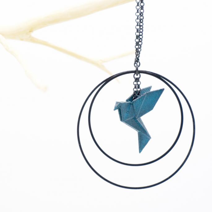 Collier - Sautoir - oiseau - origami - pétrole - créole-noires