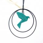 Collier - Sautoir - oiseau - origami - émeraude - créole-noires