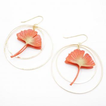 Boucles d'oreilles ginkgo mandarine créoles dorées