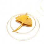 Boucles d'oreilles ginkgo curry-moutarde créoles dorées Taille M