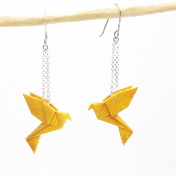 Boucles d'oreilles oiseau Origami : Birdy curry moutarde