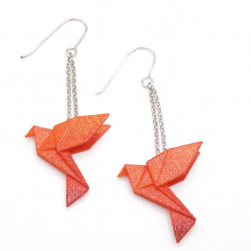 Boucles d'oreilles oiseau Origami : Birdy mandarine