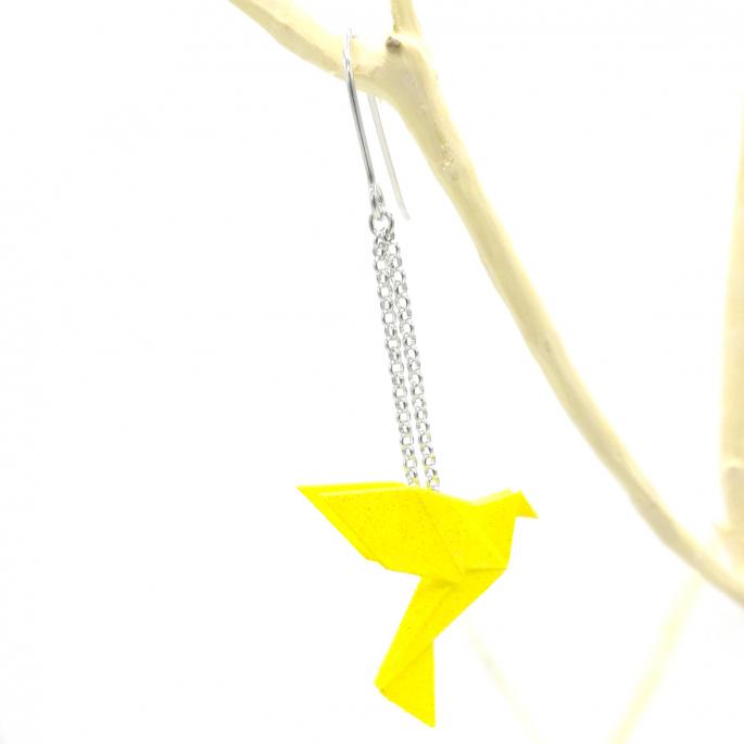 Boucles d'oreilles oiseau Origami : Birdy jaune