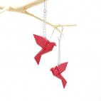 Boucles d'oreilles oiseau Origami : Birdy rouge