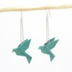 Boucles d'oreilles oiseau Origami : Birdy émeraude