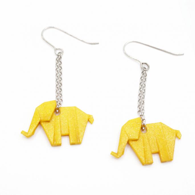 Boucles d'oreilles éléphant Origami moutarde