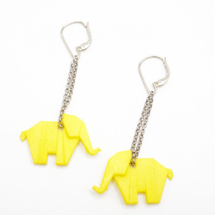 Boucles d'oreilles éléphant Origami jaune