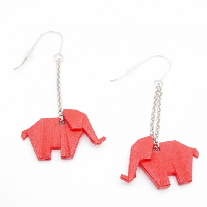 Boucles d'oreilles éléphant Origami rouge
