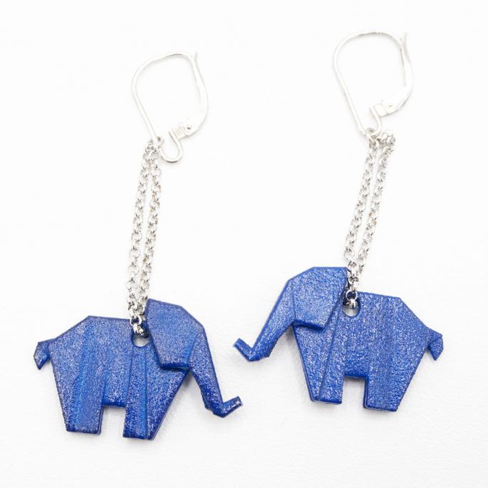 Boucles d'oreilles éléphant Origami bleu