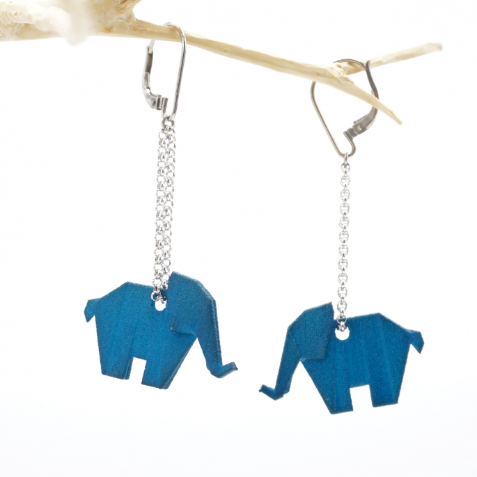 Boucles d'oreilles éléphant Origami pétrole