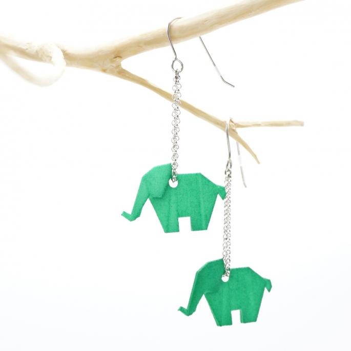 Boucles d'oreilles éléphant Origami vert