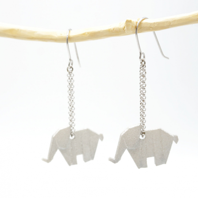 Boucles d'oreilles éléphant Origami silver