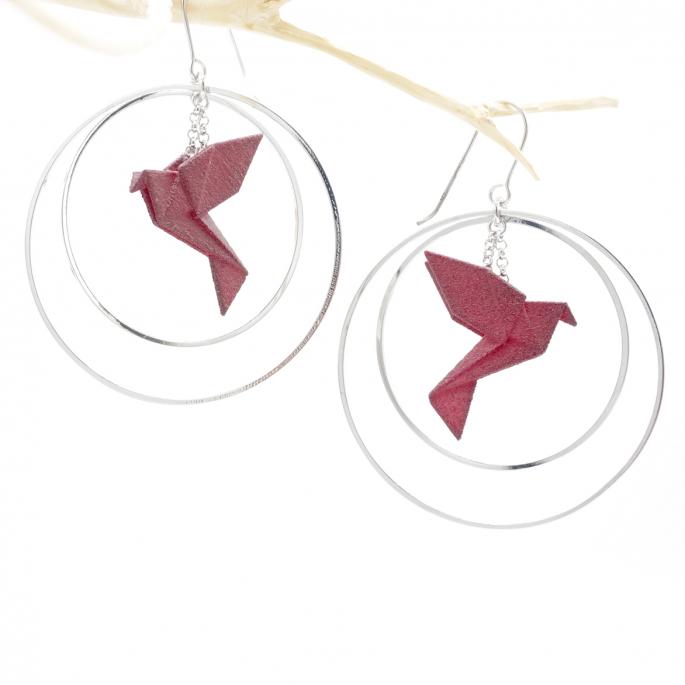 Boucles d'oreilles oiseau Origami bordeaux créoles argentées