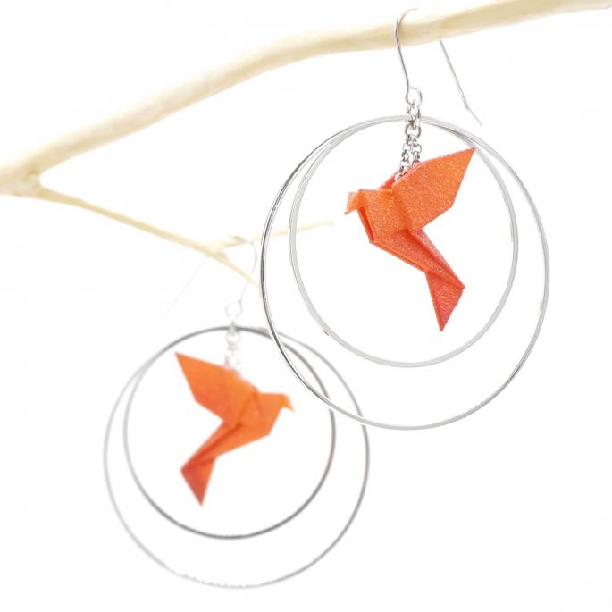 Boucles d'oreilles oiseau Origami mandarine créoles argentées