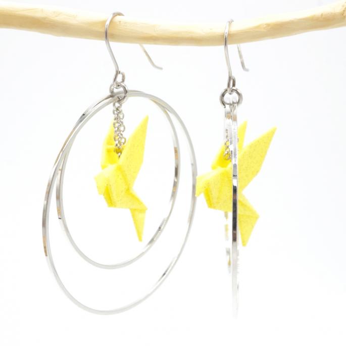 Boucles d'oreilles oiseau Origami jaune créoles argentées