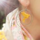 Boucles d'oreilles oiseau Origami curry créoles argentées
