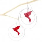 Boucles d'oreilles oiseau Origami rouge créoles argentées