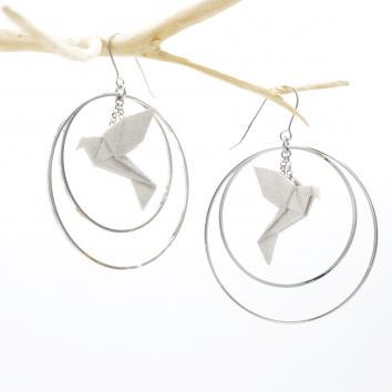 BO BIRDY DOUBLE créoles argentées silver