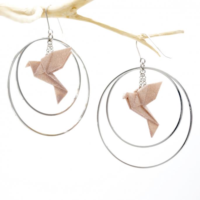 Boucles d'oreilles oiseau Origami nude créoles argentées