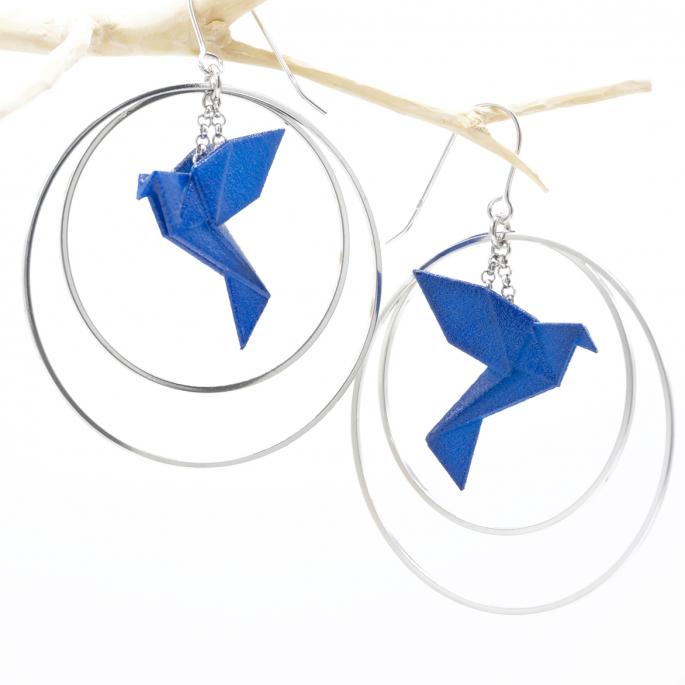 Boucles d'oreilles oiseau Origami bleu créoles argentées