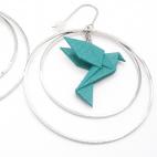Boucles d'oreilles oiseau Origami émeraude créoles argentées