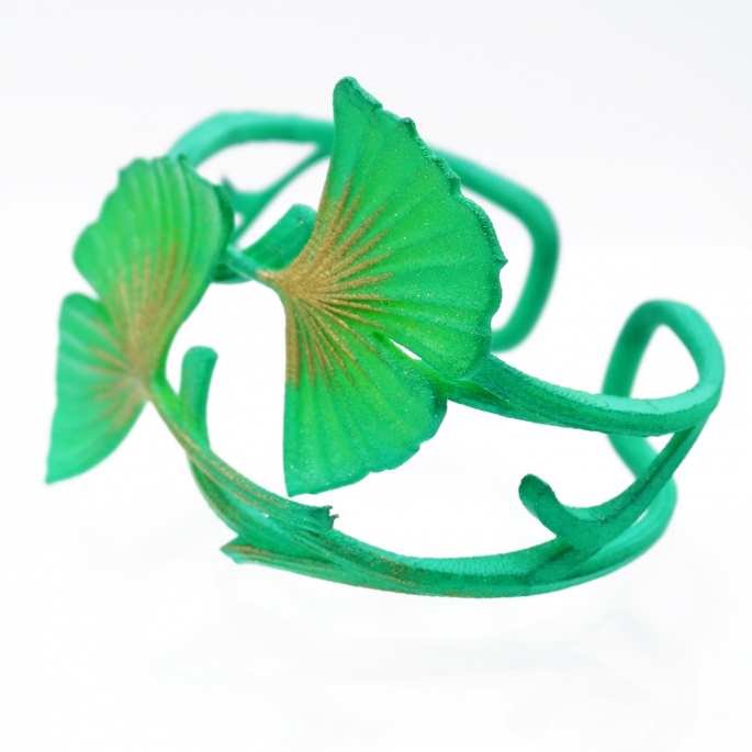 BRACELET GINKGO DOUBLE vert acidulé
