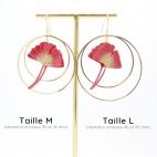 Boucles d'oreilles ginkgo rouge créoles dorées Taille M et L