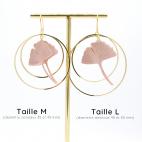 Boucles d'oreilles ginkgo NUDE créoles dorées Taille M et L