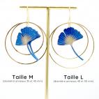 Boucles d'oreilles ginkgo bleu créoles dorées Taille M et L