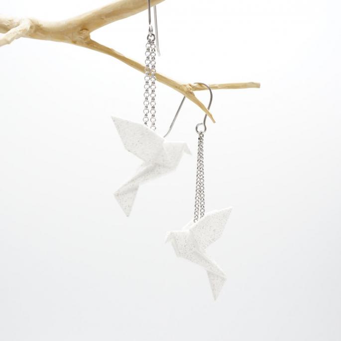 Boucles d'oreilles oiseau Origami : Birdy Blanc