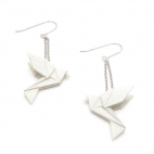 Boucles d'oreilles oiseau Origami : Birdy gris argent