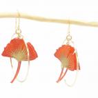 Boucles d'oreilles ginkgo mandarine petite créole dorée