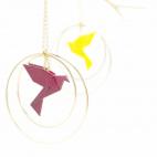 Collier - Sautoir - oiseau - origami - bordeaux