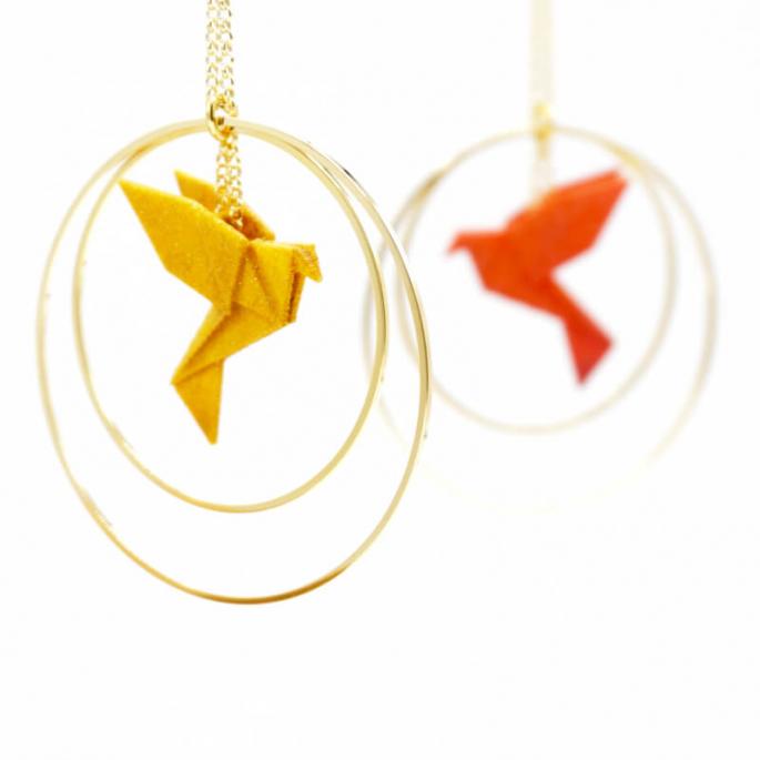 Collier - Sautoir - oiseau - origami - nuances ensoleillées