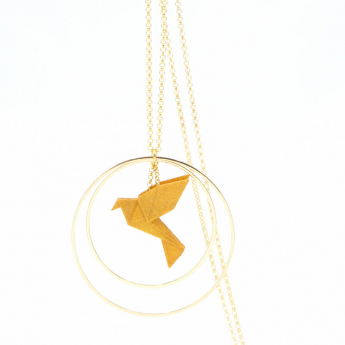 Collier - Sautoir - oiseau - origami - curry